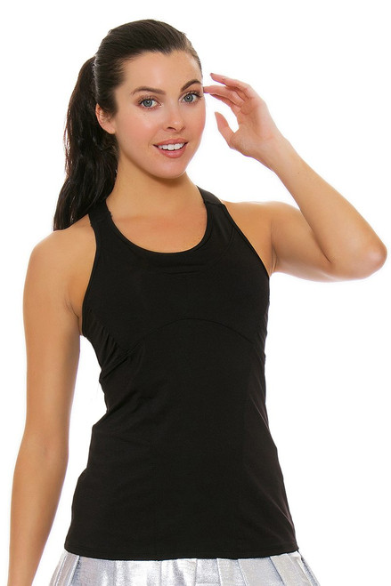 Lucky In Love Women's Core Tops Goddess Cami Black Tennis Tank LIL-CT213-001 Image 4