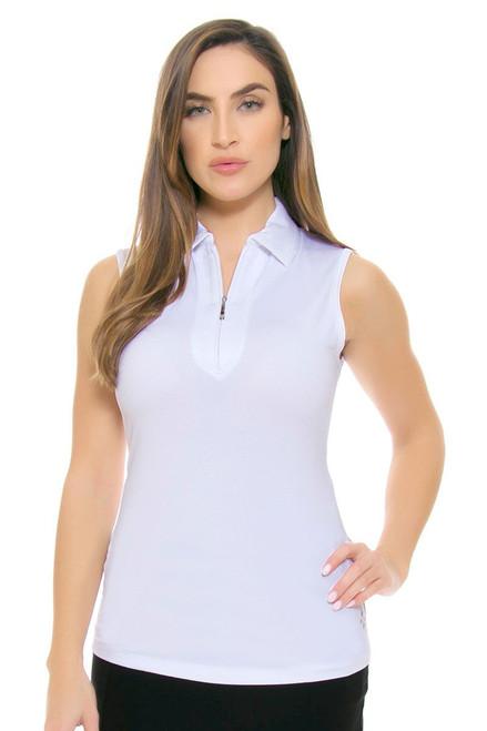 Jofit Women's Basics Jacquard Sleeveless Golf Polo Shirt JF-UT122-WHT-Basic Image 5