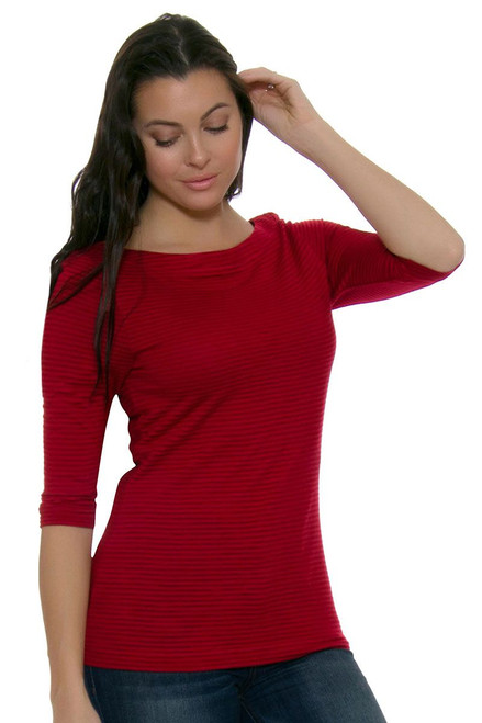 Holly Park Tonal Stripe Knit CB-LCK02591-Cardinal Red