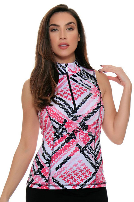Mock Scuba Dot Geo Print Golf Sleeveless Top KH-T31-9-Pretty Pink Image 4