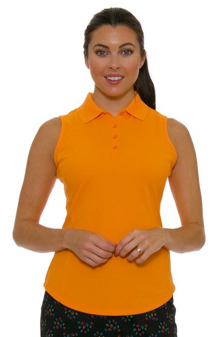 Greg Norman Women's Essentials Mandarin Orange Protek Micro Pique Golf Sleeveless Shirt GN-G2S5K448-Mandarin Orange Image 4