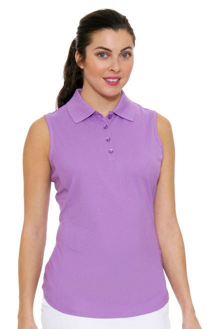 Greg Norman Women's Essentials Light Orchid Protek Micro Pique Golf Sleeveless Shirt GN-G2S5K448-Light Orchid Image 4