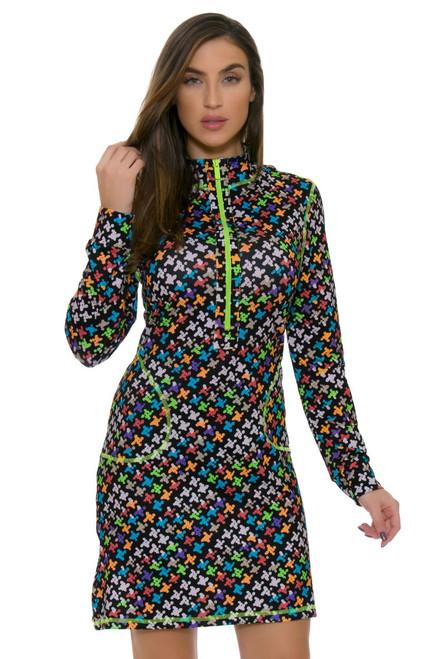 Mock Long Sleeve Scuba Print Golf Dress KH-D06-9 Image 4