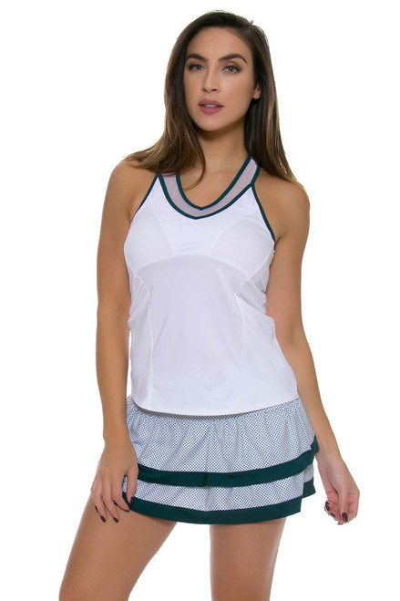 Lucky In Love Women's Green With Envy Dot To Dot Border Tier Tennis Skirt LIL-CB129-161302