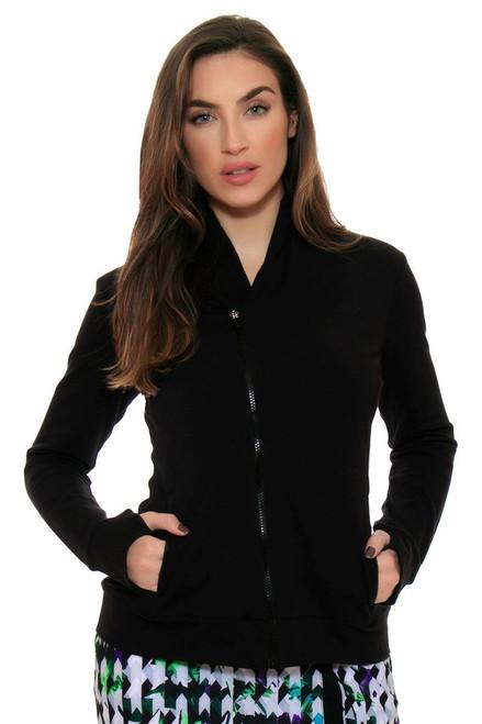 EP Sport Women's Prismatic  French Terry Asymmetric  Collar Jacket ES-5106SHA Image 1