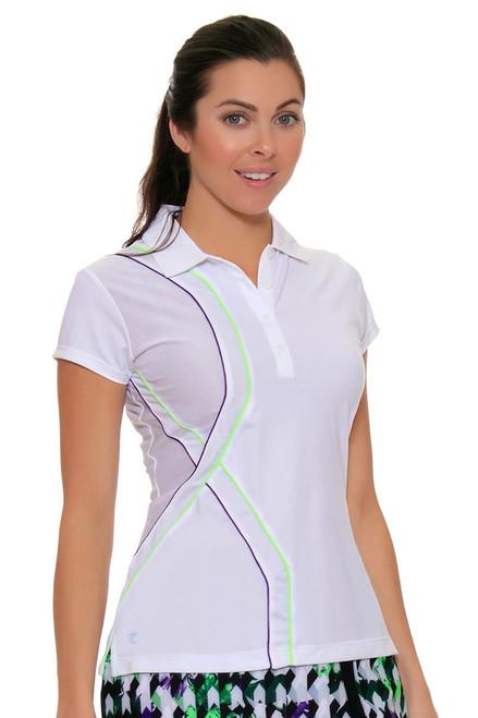 EP Sport Women's Prismatic Piped Mesh Blocked Golf Polo Shirt ES-5135SHA Image 4