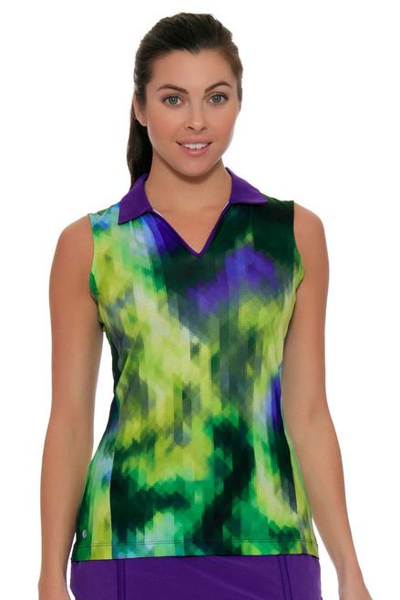 EP Sport Women's Prismatic Pixelated Floral Print Golf Polo Shirt ES-5315SHA Image 4