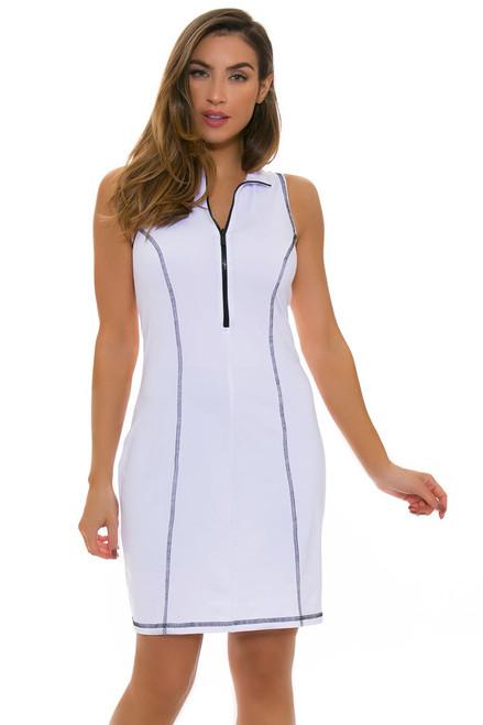 Back Pocket Zip Scuba Golf Dress KH-D16-2-White/Black Image 4