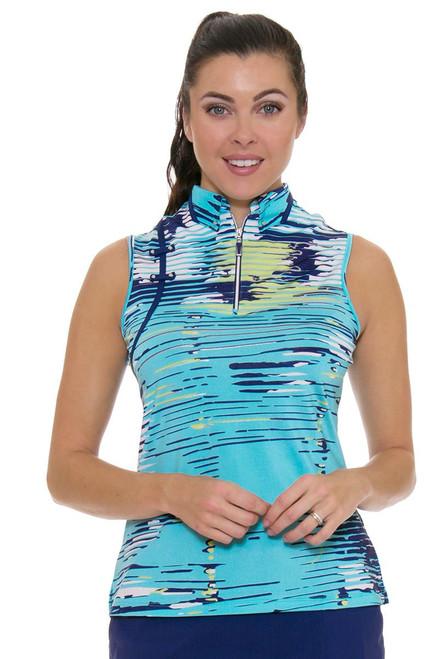 Linear Print Golf Sleeveless Shirt