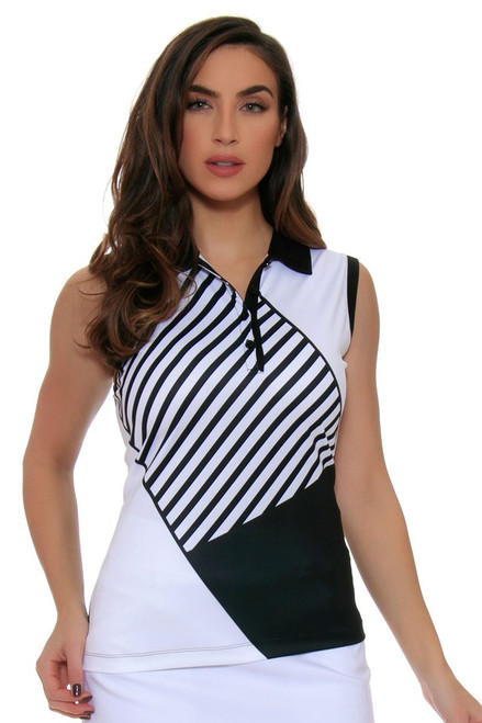 EP Pro Women's Power Play Geometric Stripe Blocked Print Sleeveless Golf Polo Shirt EP-5770LC Image 1