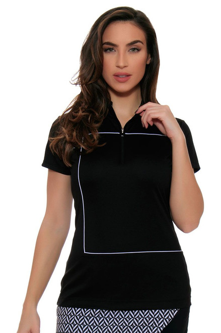 EP Pro Women's Power Play Zip Mock Piped Cap Sleeve Golf Polo Shirt EP-5734LC Image 4
