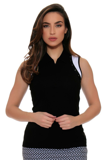 EP Pro Women's Power Play Zip Placket Eyelet Trim Sleeveless Golf Top EP-5738LC Image 4