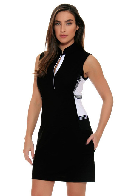EP Pro Women's Power Play Print Blocked Covered Placket Sleeveless Golf Dress EP-0730LC Image 4