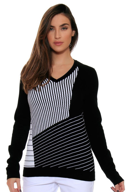EP Pro Women's Power Play Blocked Graphic Stripe V Neck Pullover EP-4731LC Image 2