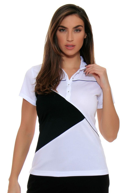 EP Pro Women's Power Play Cap Sleeve Contrast Geometric Blocking Golf Polo Shirt EP-5735LC Image 4