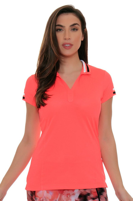 EP Sport Women's Mahalo Luau Split Mock Golf Short Sleeve Shirt ES-6265SHB Image 4