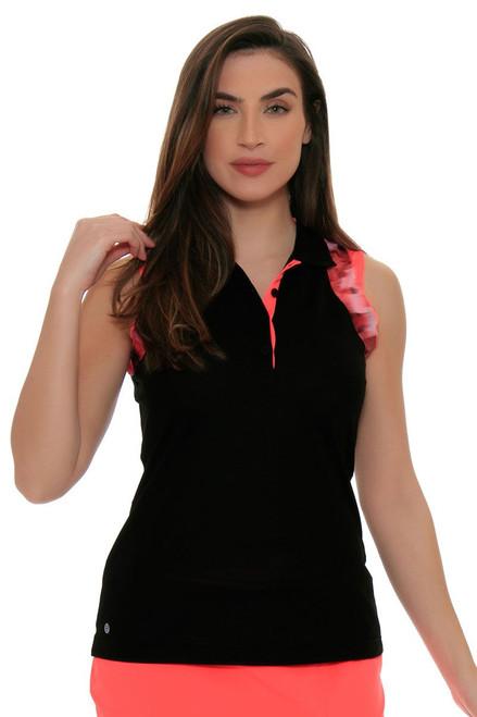 EP Sport Women's Mahalo Kapalua Floral Trim Golf Sleeveless Shirt ES-6405SHB Image 4