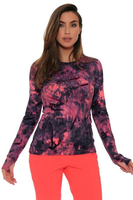 EP Sport Women's Mahalo Malihini Spray-Dye Print Golf Long Sleeve Shirt ES-6215SHB Image 4