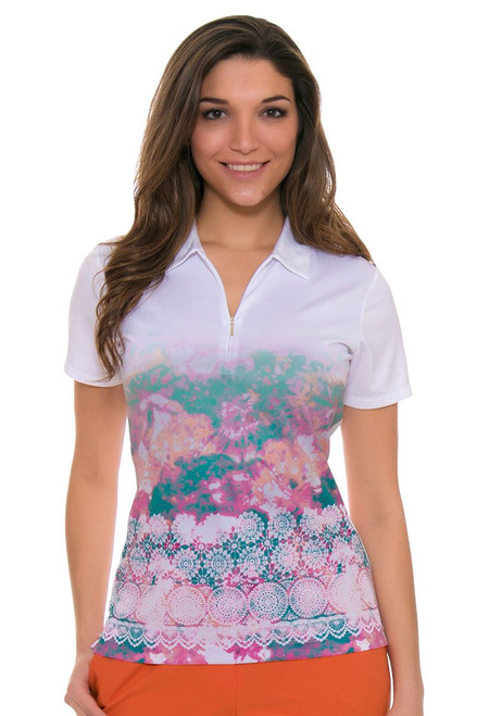 EP Pro Women's Cassis Lace Border Print Golf Short Sleeve Shirt EP-5744LD Image 4
