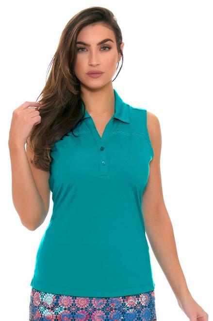 EP Pro Women's Cassis Crochet Lace Inset Sleeveless Golf Polo Shirt