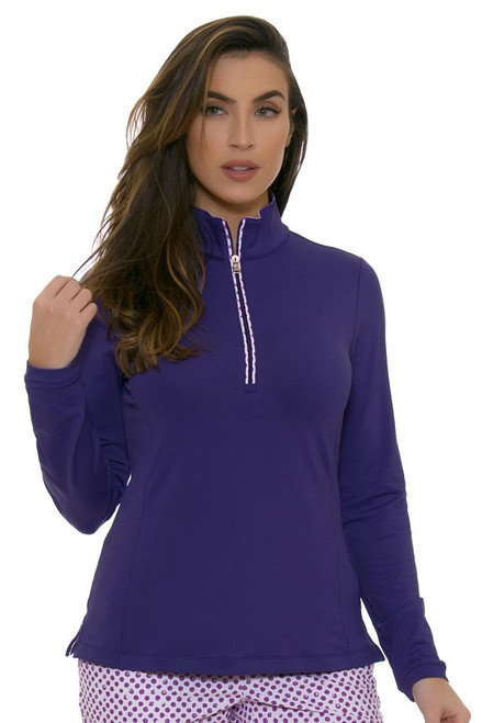 Fairway and Greene Women's Spot On Grace Zip Mock Moonstruck Golf Long Sleeve
