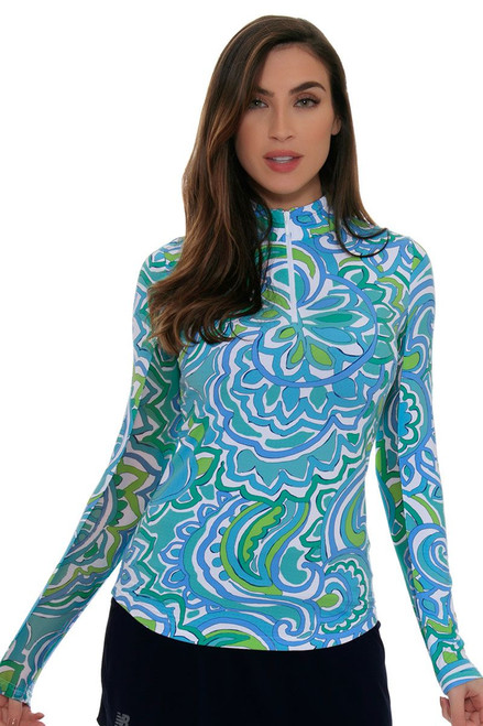 Icikuls Women's Ariana Mock Blue Green Sun Shirt ICK-10535-Tennis Image 4