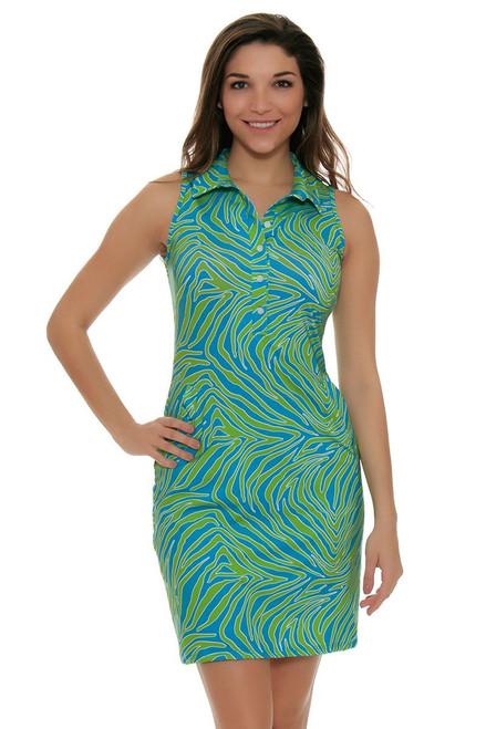 Tee 2 Sea Women's Aqua Zebralicious Print Golf Dress T2S-1110AZ Image 4