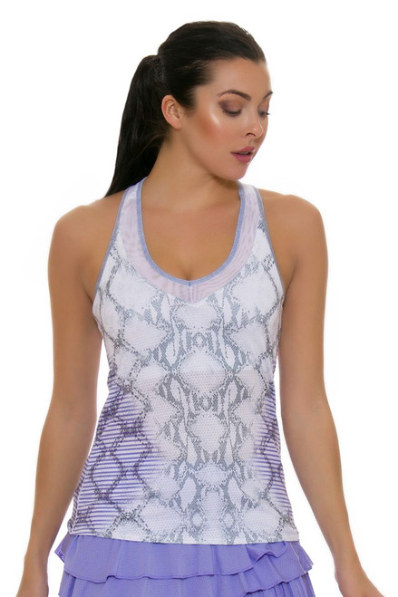 Lucky In Love Women's Snake Charmer V-Neck Lilac Tennis Tank LIL-CT329-163515