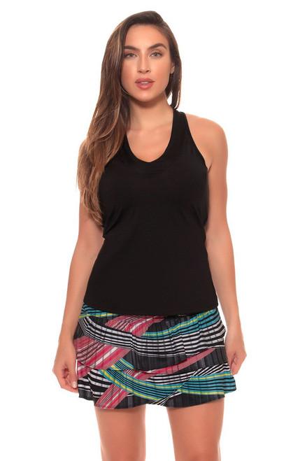 Lucky In Love Women's Print Medley Long Raceway Rouched Scallop Tennis Skirt LIL-CB196-300955