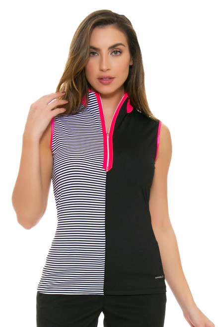 Annika Women's Trellis Stripe Mix Mock Golf Sleeveless Shirt