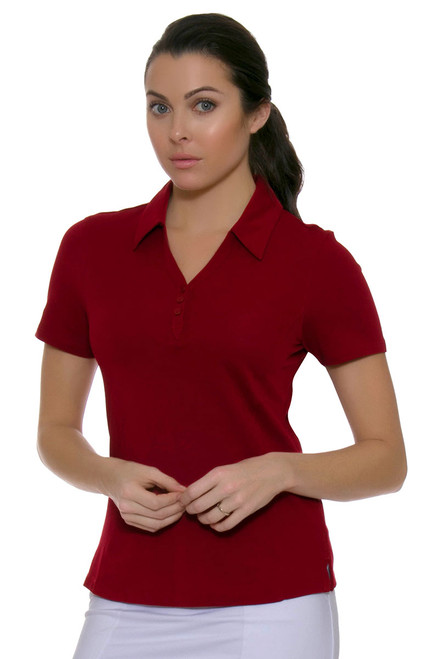 Cutter & Buck Women's Basics Cardinal Red Championship Golf Short Sleeve Polo