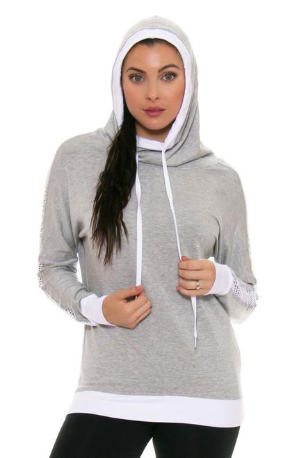 ChiChi Active Women's Audrey Hooded Heather Grey Sweatshirt CA-VN2-80104HG/W Image 4