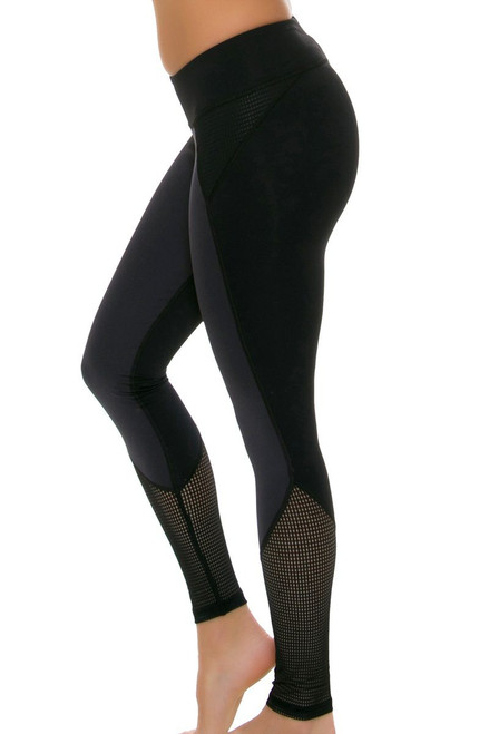 ChiChi Active Women's Demi Mesh Black Graphite Workout Leggings CA-HW3-50201G Image 4