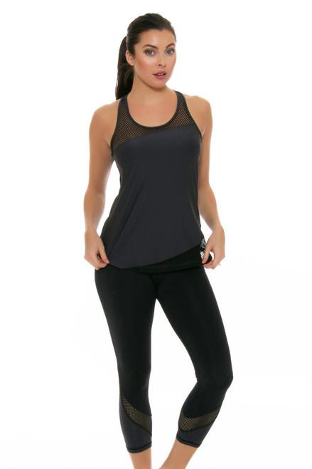ChiChi Active Women's Tatiana Black Graphite Workout Capri CA-HW3-60604 Image 4