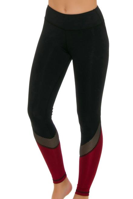 ChiChi Active Women's Tatiana Black Hollywood Red Workout Legging CA-HW3-50501R Image 4