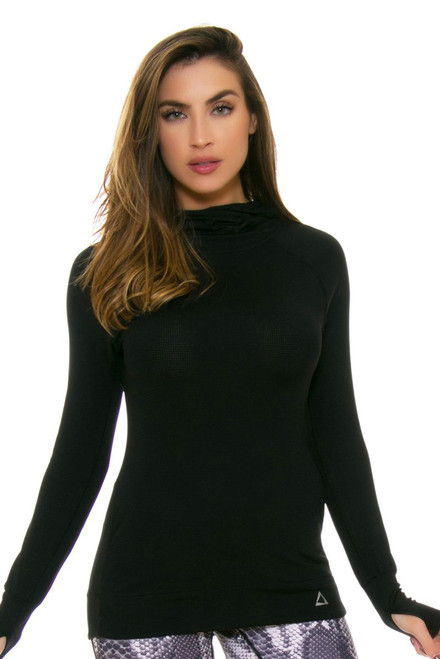 PrismSport Women's Tempo Hoodie Black Long Sleeve PS-2008TEM-BLK Image 4
