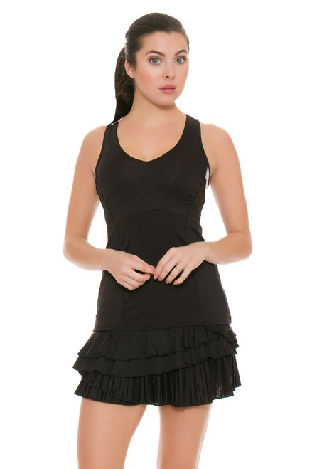 Lucky In Love Women's Outside the Lines Rally Pleat Tier Black Tennis Skirt LIL-CB161-001 Image 4