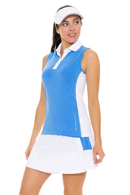 Redvanly Women's Decatur White and Blue Tennis Skirt RV-3366 Image 1