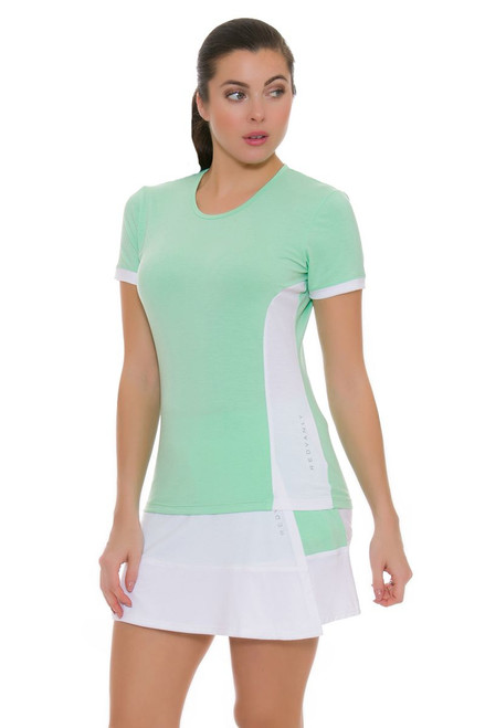 Redvanly Women's Decatur White and Green Tennis Skirt RV-3368 Image 4