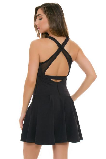 Tonic Active Black Crosscourt Tennis Dress TA-DFT8077-Black Image 4
