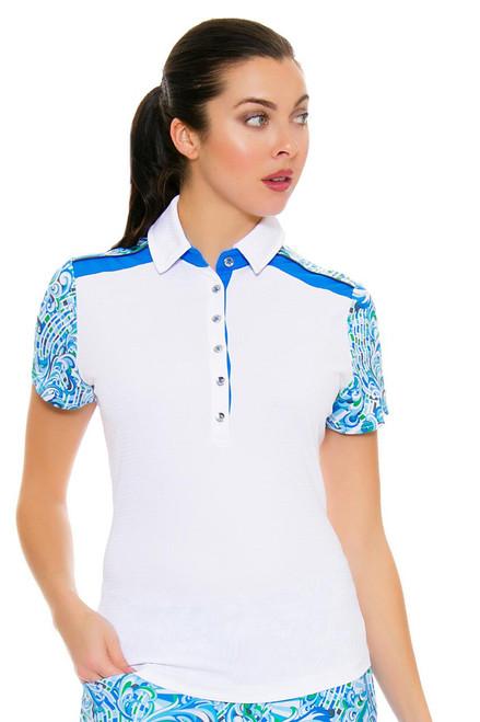 GGBlue Women's Turks & Caicos Dylan White Golf Polo Shirt