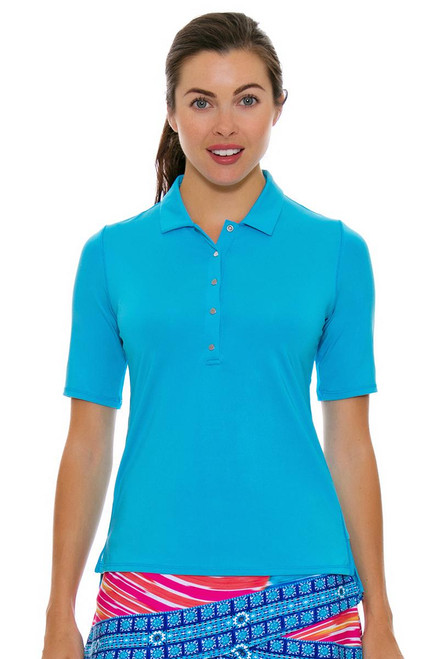 Lucky In Love Women's Divine Le Snap Half Sleeve Ocean Golf Polo LIL-GT10-410 Image 4