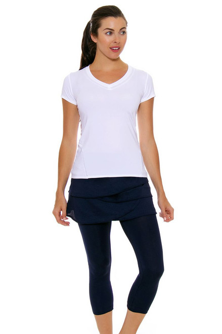 Lucky In Love Women's Core Bottoms Scallop Navy Tennis Skirt Capri LIL-CB11-401 Image 4