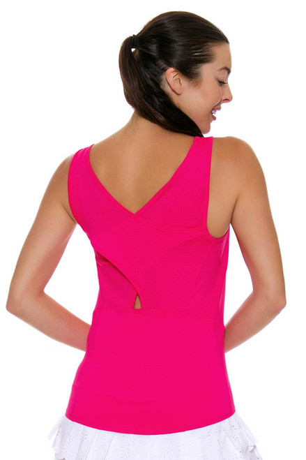 Lucky In Love Women's Core Tops Jane Sweet Shocking Pink Tennis Tank LIL-CT366-645 Image 4