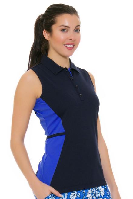 EP Pro NY Women's Beyond Blue Tonal Blocked Golf Sleeveless Shirt EPNY-5117NAA Image 4