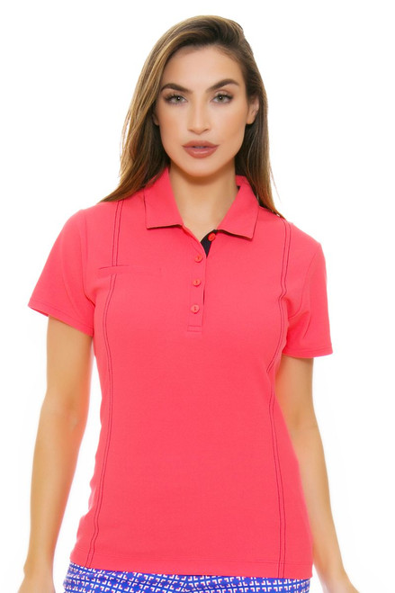 EP Pro NY Women's Beyond Blue Contrast Stitching Golf Short Sleeve Polo Shirt EPNY-5113NAA Image 4