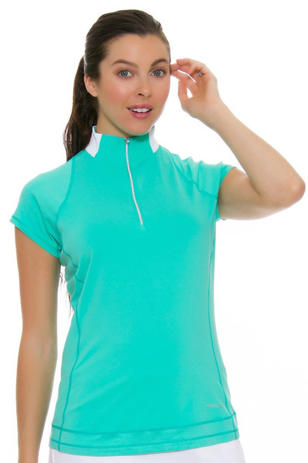 Annika Women's Glass Beach Avani Cap Sleeve Golf Top