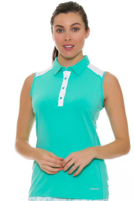 Annika Women's Glass Beach Pria Golf Sleeveless Polo AK-LAK06385-Glass Beach