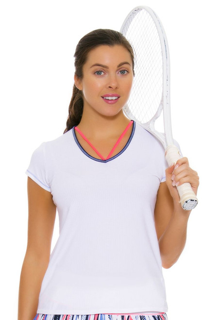 Lucky In Love Women's Vantage Lacey V-Neck Tennis Short Sleeve LIL-CT369-110 Image 4