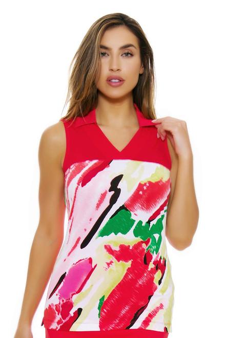 EP Pro NY Women's Poppy Fields Crossover V-Neck Golf Sleeveless Shirt EPNY-5160NAB Image 4
